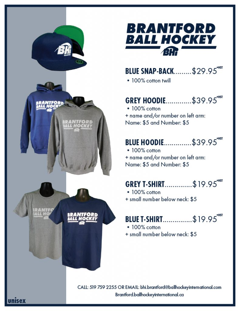 image of brantford ball hockey hats, hoodies, and t-shirts